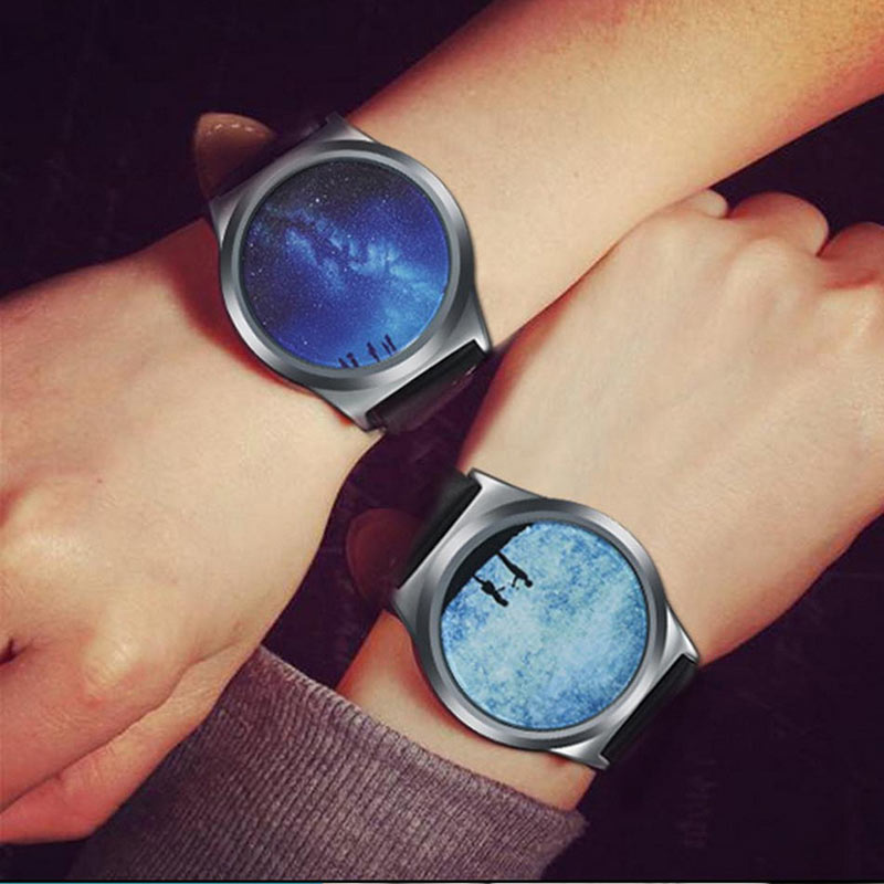 Starry Sky Couple Watch Colock Personality No Pointer Touch Screen Watch Women Electronic Watch Leather Band Clock TT@88