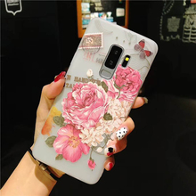 Fashion 3D Relief Flower Phone Case For Samsung Galaxy S9 S8 Plus Clear Rose Floral Cases Soft TPU Back Cover Note 9