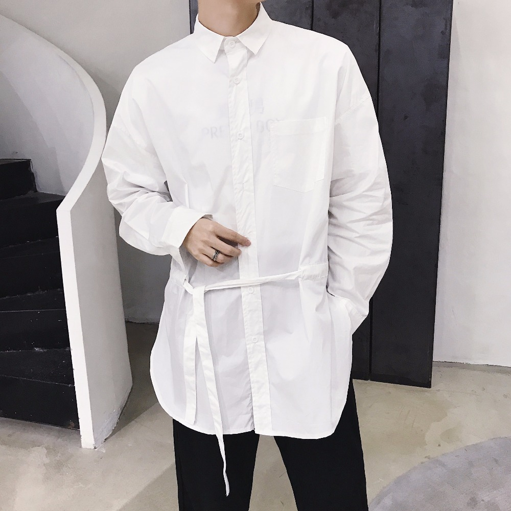 2019 New fashion Hairdresser long shirt loose trend youth pure color personality casual long sleeved shirt costumes