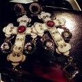 Новый Euramerican Поп барокко Стиль ювелирный бренд со стразами красный драгоценный камень крест Серьги