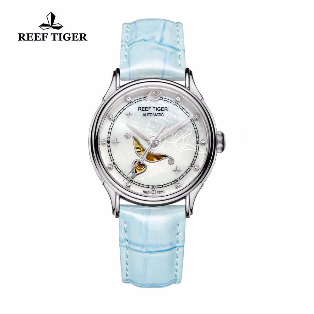 цена на Reef Tiger Fashion and Elegant Automatic Watches Diamonds White MOP Dial Steel Watch For Ladies RGA1550