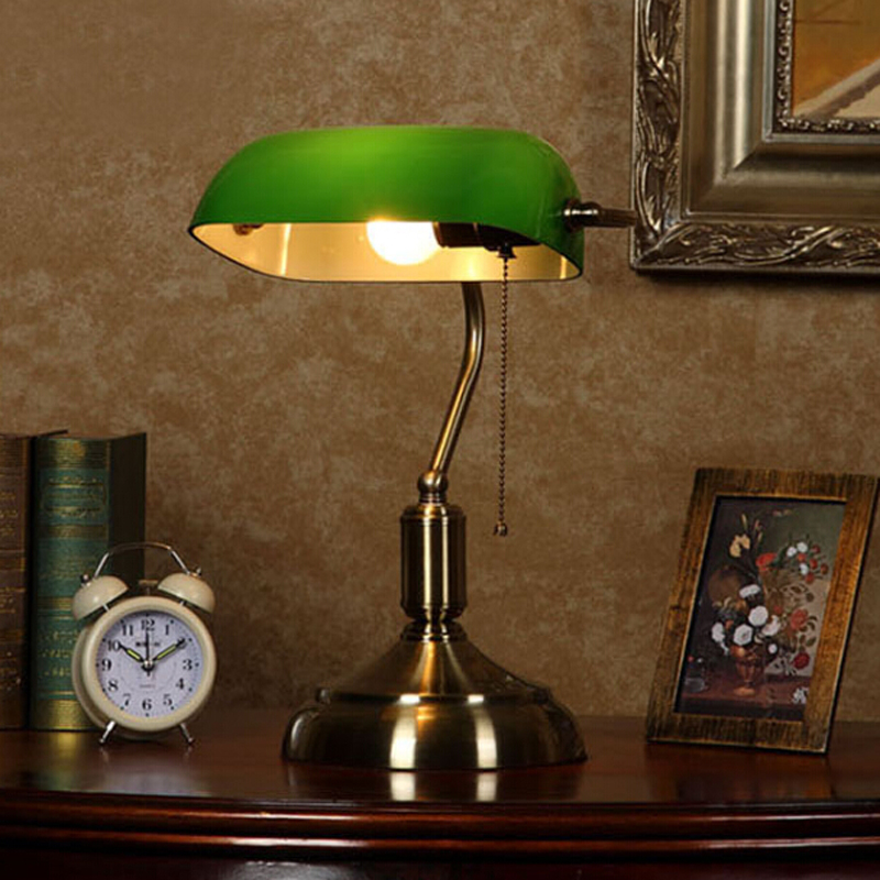European Antique Glass&metal Table Lamp with Pull Chain Switch,Classical Creativity Study Room Bedroom Bedside green Table Lamp