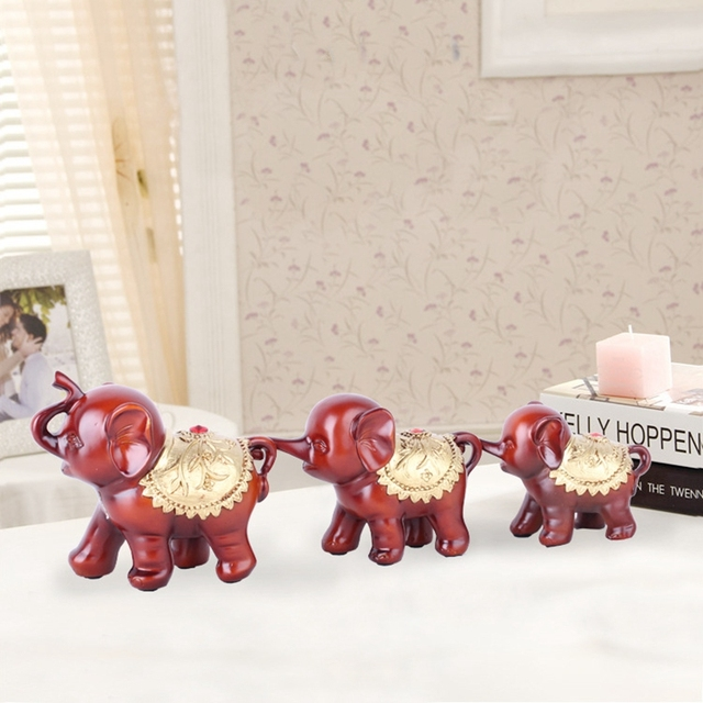 3pcsset creative home decoration elephant figurine resin lucky christmas miniatures ornament unique elephant sets - Christmas Miniatures
