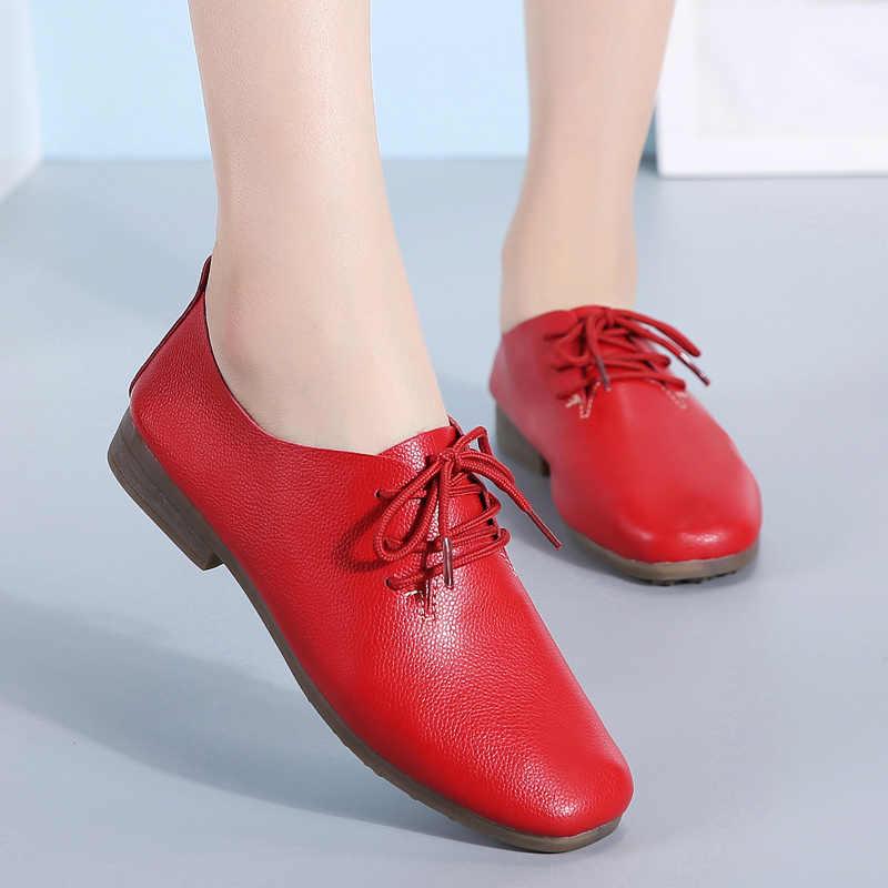 AARDIMI Stingray Deri Kadın Ayakkabı Rahat Düz Hakiki Deri Sığ Chaussure Femme İngiliz Tarzı Bahar Düz hemşire Ayakkabı