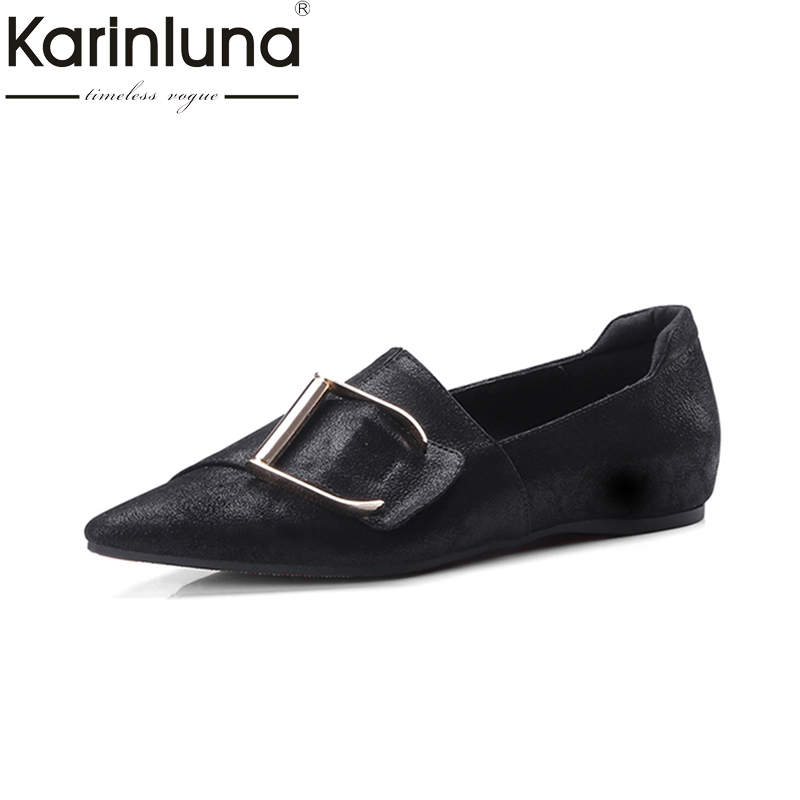 KarinLuna fashion genuine leather large size 34-42 pointed Toe Flats Slip On Comfortable Woman Shoes Woman buckle boat shoes meotina shoes women genuine leather flats d orsay strap shoes pointed toe autumn casual flats yellow green large size 9 41 42