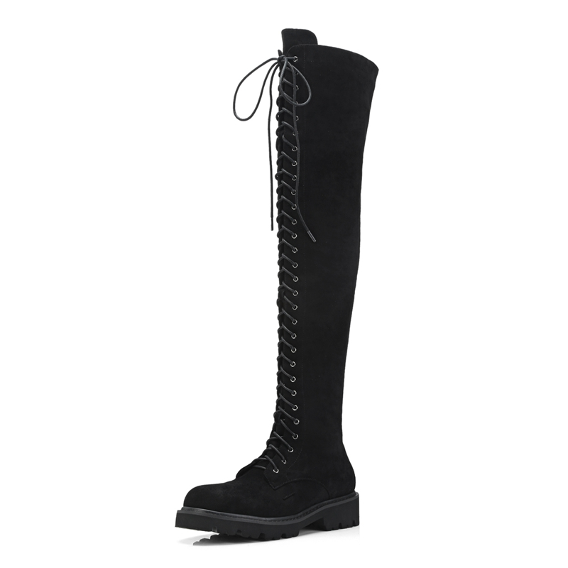 ENMAYER Women boots over the knee boots women round toe lace up stretch fabric flat with boots women platform boots ZYL927 in Over the Knee Boots from Shoes