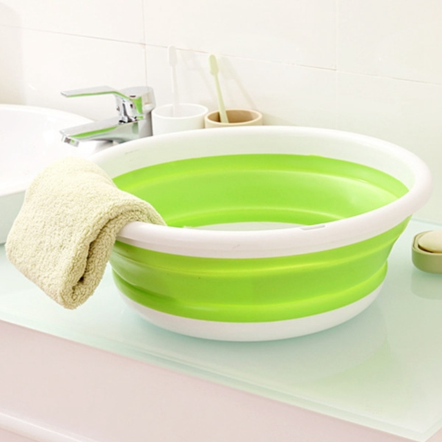 Simple Life Plastic Wash Basin Folding Bucket Portable Camping ...