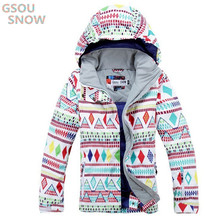 GSOU SNOW Colorful Women's Winter Jackets 10K Waterproof Windproof Heat Breathable Outdoor Snowboarding Suits Ski Suit Coats 2018 new lover men and women windproof waterproof thermal male snow pants sets skiing and snowboarding ski suit men jackets