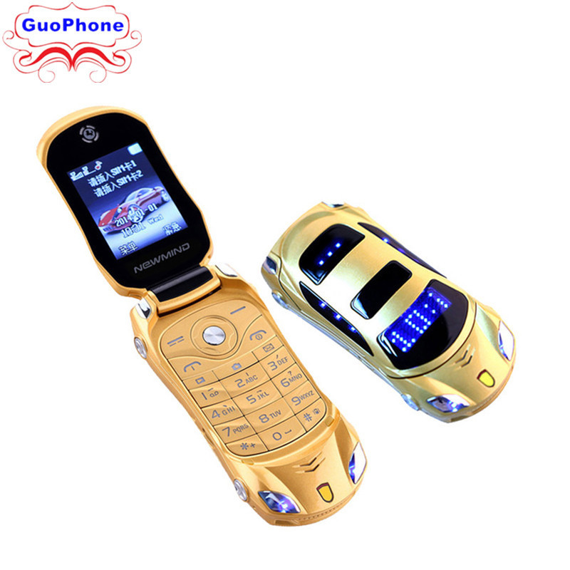 2018 NEWMIND F15 Flip Phone With Camera Dual SIM LED Light 1.8 Inch Screen Luxury Car Cell Phone(Free Add Russian Keyboard)