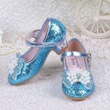 Детская обувь для детей; обувь принцессы с кристаллами; вечерние туфли для детей с бантом; модная весенняя детская обувь на каблуке для девочек