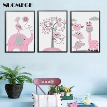 Kawaii Animal Zebra Elephant Giraffe Bubbles Canvas Painting Wall Art Posters Prints Nordic Nursery Wall Picture Kids Room Decor