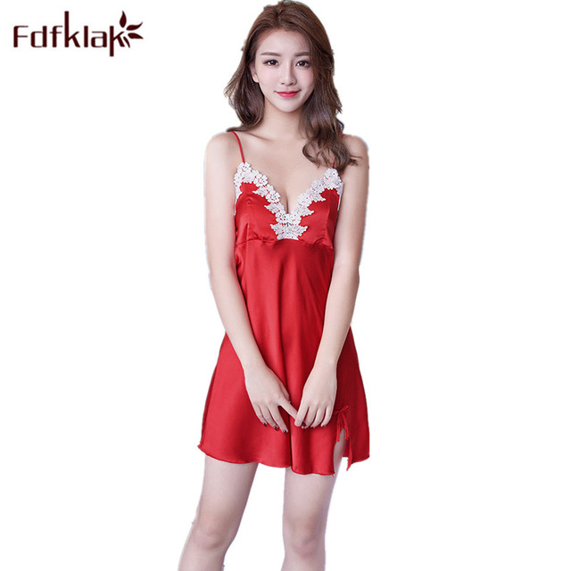 b6855bacb1 Fdfklak Hot Selling Summer Spaghetti Strap Nightgowns Sleepwear Nightgown  Night Dress Women Sexy Lingerie Silk Sleepwear