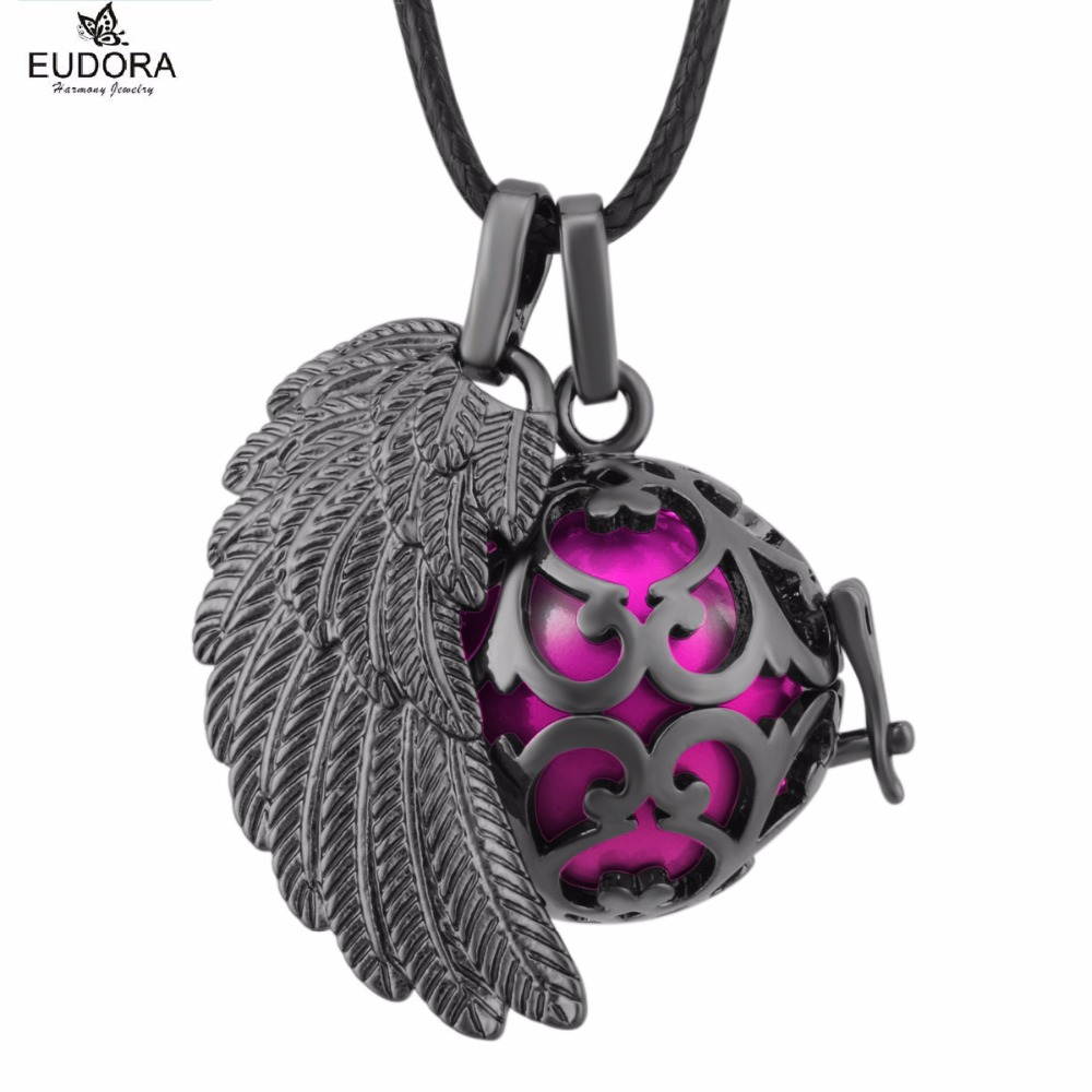 FH234 Eudora Harmony Ball Chime Angel Wing Locket Pendant Gunmetal Angel Caller Mexican Bola Necklace