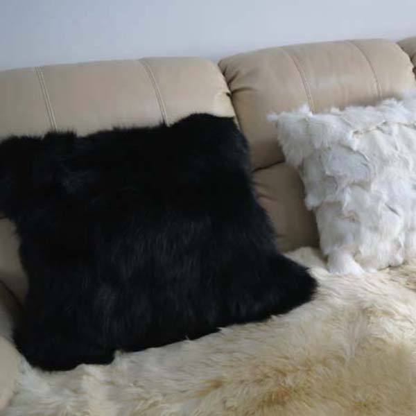 home black at aubrey pillow rabbit navy fur in