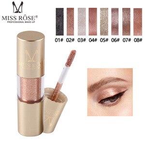 Image 1 - MISS ROSE 8 kolor metalowy cień do powiek Shimmer ciepłe kolory wodoodporny połysk z wzorem pojedynczego oka cień płyn matowy makijaż cień TSLM2
