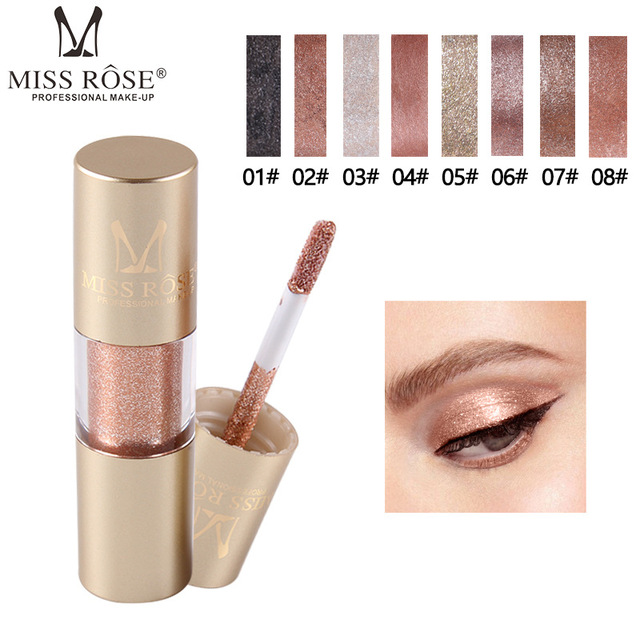 MISS ROSE 8 kolor metalowy cień do powiek Shimmer ciepłe kolory wodoodporny połysk z wzorem pojedynczego oka cień płyn matowy makijaż cień TSLM2
