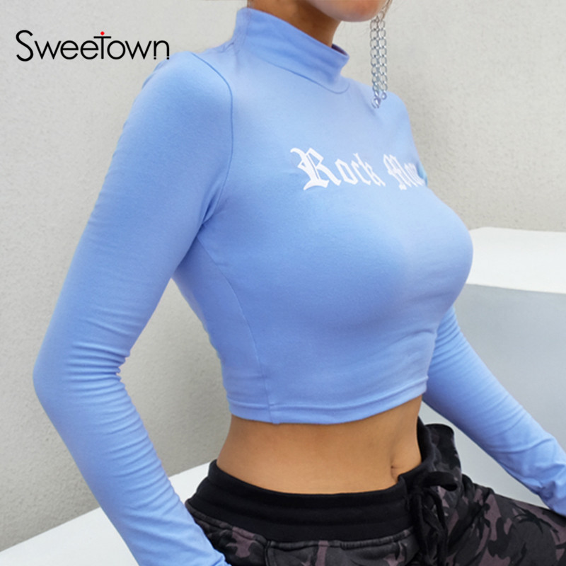 Sweetown Harajuku Crop Top Long Sleeve T Shirt Women Blue Turtleneck Printed Graphic Tees 2018 Casual Women Kawaii T-Shirts Cute