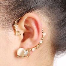 2016 New 18K Gold Plated Earrings Bijoux Opal Rhinestone Insect Elephant Ear Cuff Clip Earring Fashion Jewelry Gift For Women