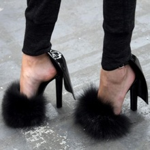 Sexy Peep Toe R abbit Fur High Heel Sandals Fashion Ankle Buckle Summer Sandals Red Black Cover Heels Wedding Party Shoes sophitina sexy thin heels women sandals black red high quality microfiber shoes fashion party summer buckle ladies sandals po175