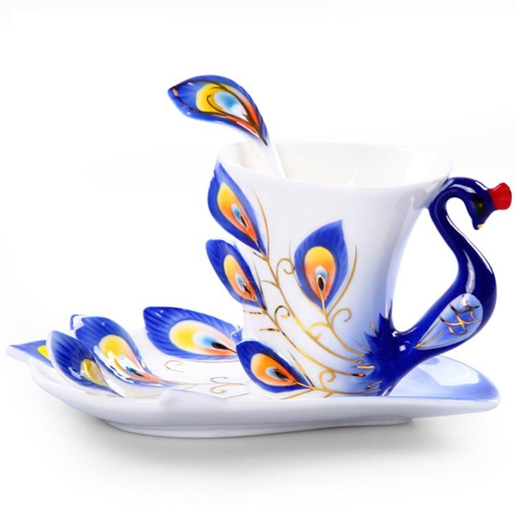 Taza de pavo real Tazas de cerámica Pintura Creativa Taza de Hueso - Cocina, comedor y bar