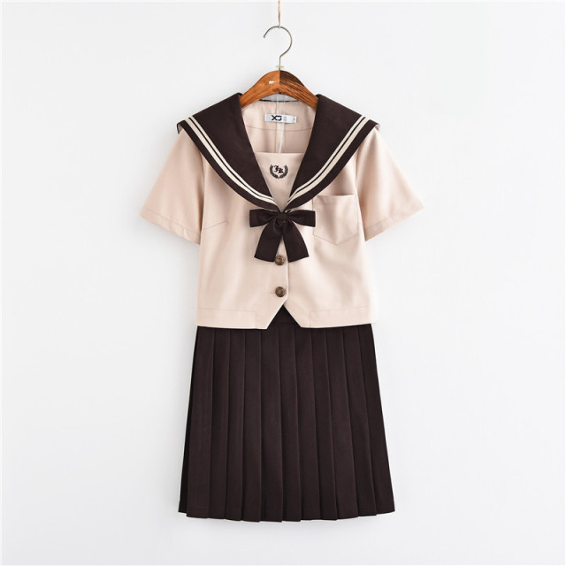 9a9cb2f4084 New Arrival School Uniform Girls Novelty Sailor Suits Milk Tea Color Summer  Style Japanese JK Sets High School Uniforms Cosplay