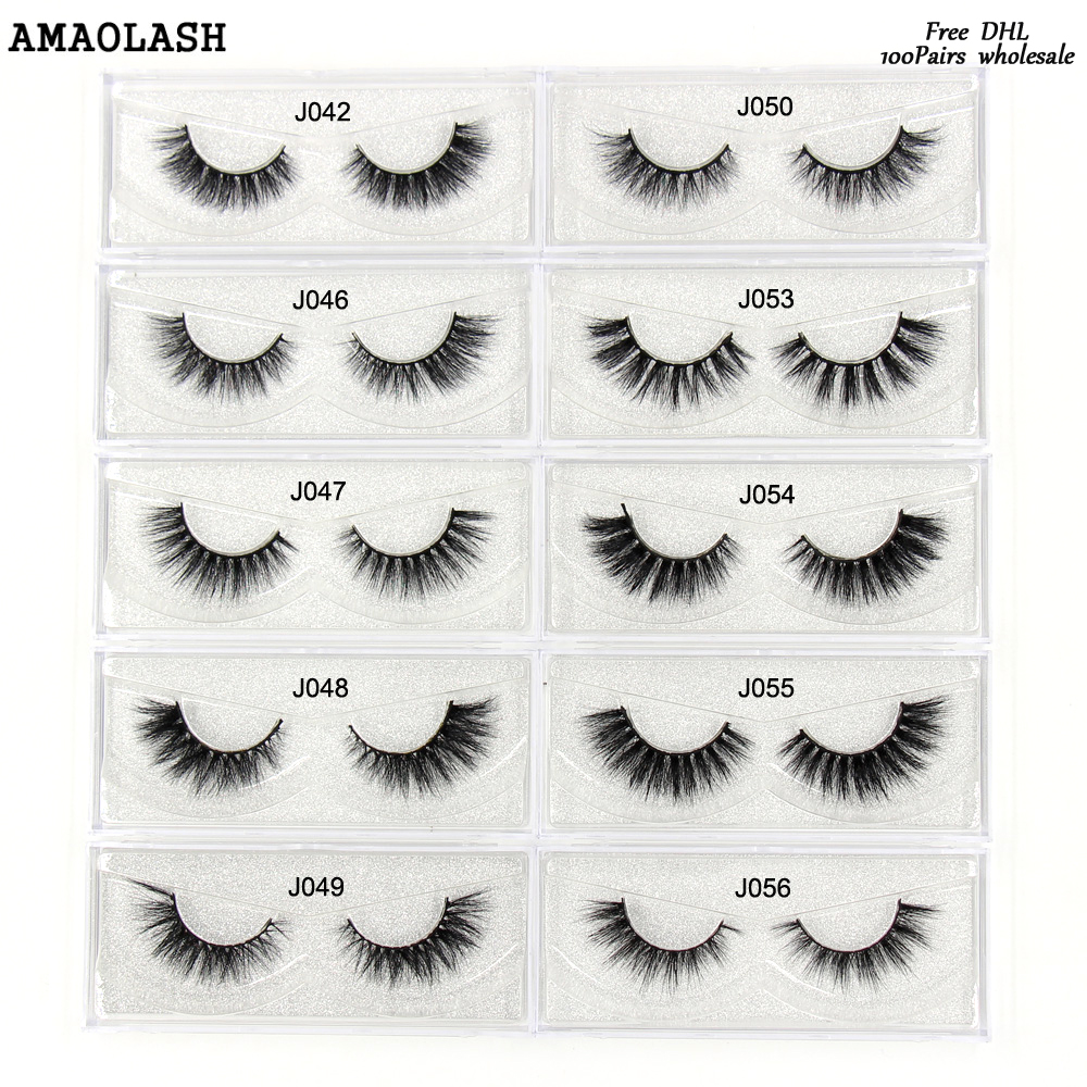 цена AMAOLASH 100Pairs Mink Lashes Free DHL Mink Eyelashes 27styles High Volume reusable False Eyelashes Cross thick Natural Lashes