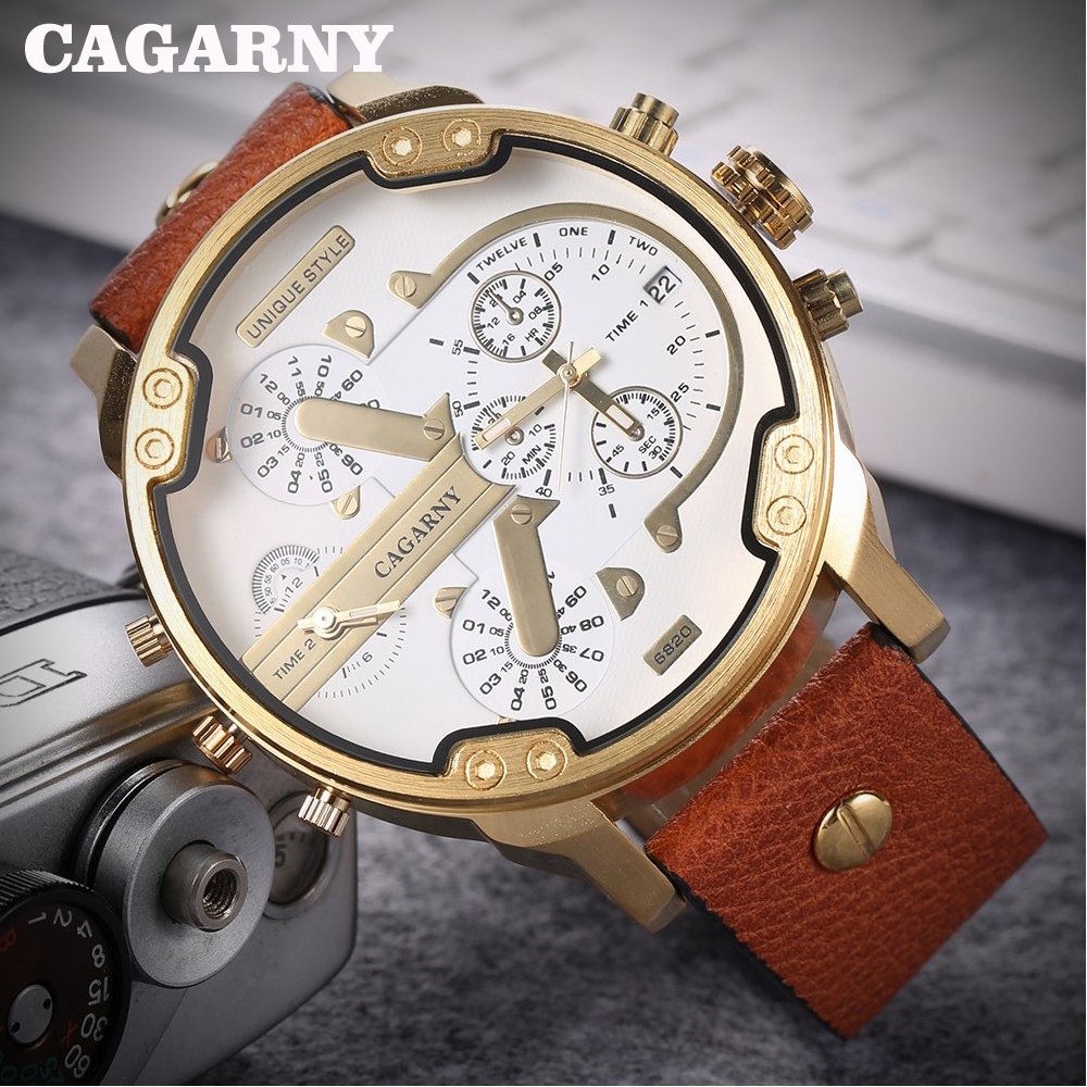 Cagarny Big Watch Men Luxury Brand Quartz Watches Leather Strap Golden Case Dual Times Military Relogio Masculino D6820 New XFCS мужские часы timberland tbl 15257jsb 79