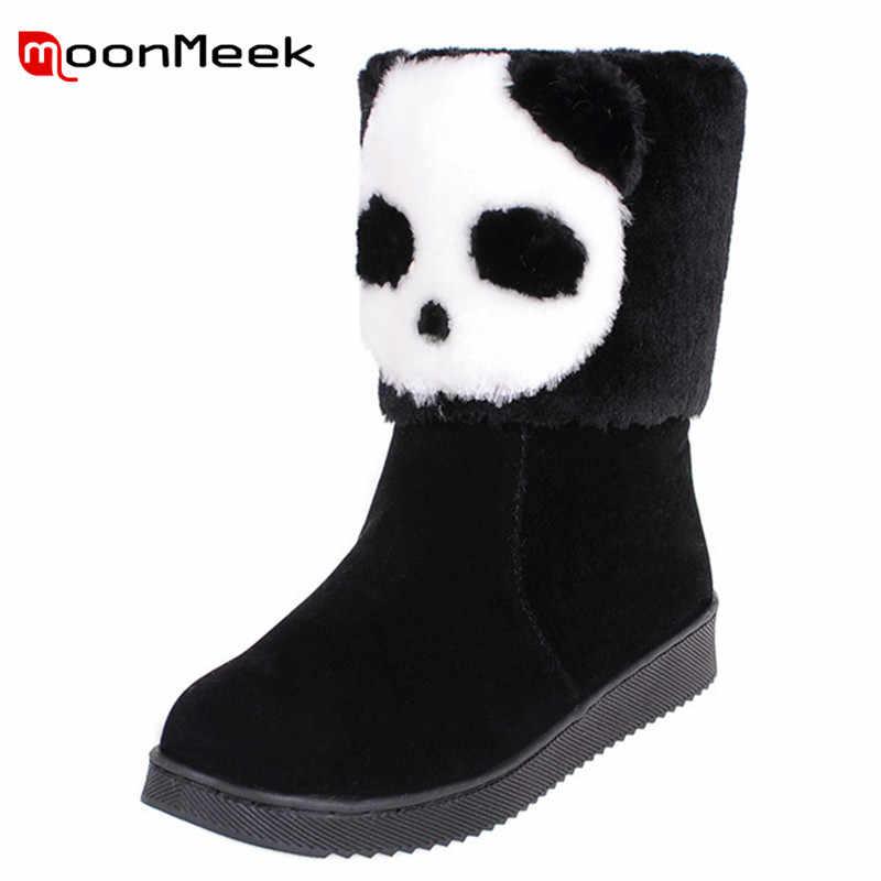MoonMeek yeni gelmesi 2020 sevimli kadın kış kar botları sıcak satış düşük topuk akın bayanlar yarım çizmeler rahat sonbahar kış çizmeler