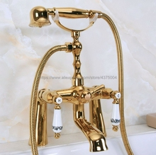 Luxury Gold Color Brass Dual Handle Bathroom Tub Faucet Deck Mounted Bathtub Mixer Taps with Handshower Nna142 стоимость