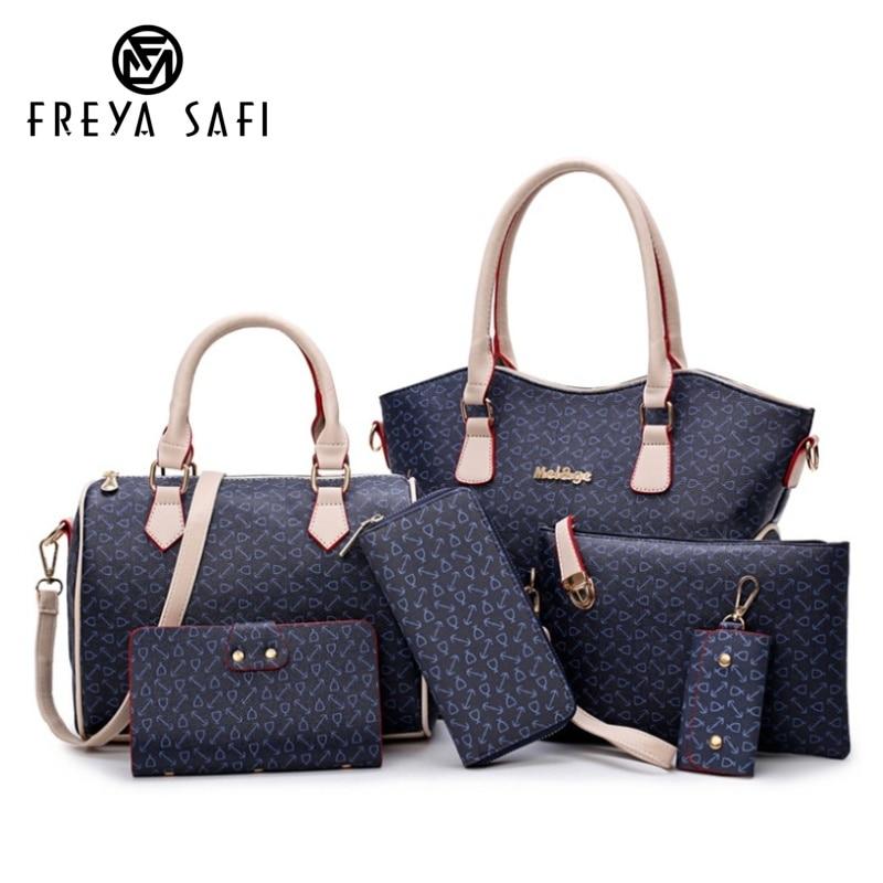2018 New Women Bags Leather Handbags Fashion Shoulder Bag Female Purse High Quality 6 Piece Set Designer Brand Bolsa Freya Safi