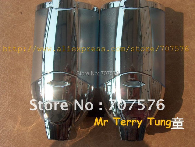 Wholesale Bathroom Kitchen European Twins Chrome Soap Dispenser For Home /Star Hotal Manual Double Shower/Shampoo/Soap dispenser