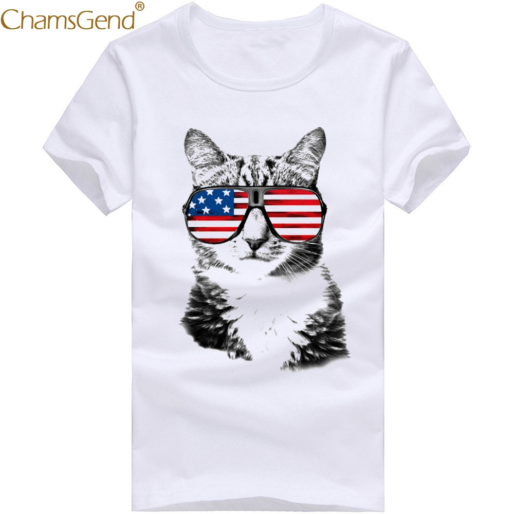 b71e80e05 Detail Feedback Questions about Chamsgend Drop Shipping Men Cool Cat With  Sunglasses 3D Print Shirt White Short Sleeve T Shirt Outwear 80208 on ...