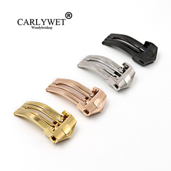 CARLYWET 18mm Silver Color Stainless Steel Watch Band Buckle Deployment Clasp For TAG HEUER Less 2mm Rubber Leather Strap Belt
