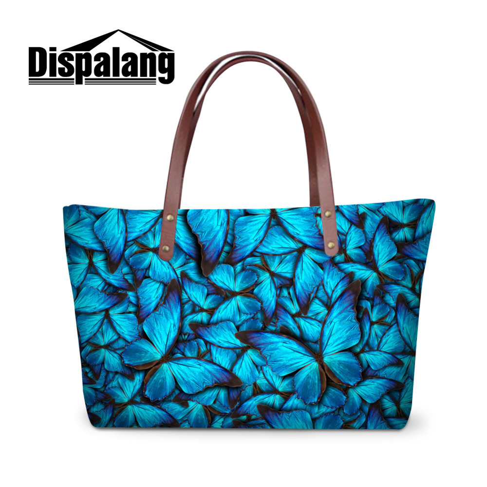 High Quality Womens Bag Blue Butterfly 3D Printing Handbags Large Beach Bag  Ladies Shoulder Bag 11 Styles to Choose Bolsas Mujer 56769ef7844e