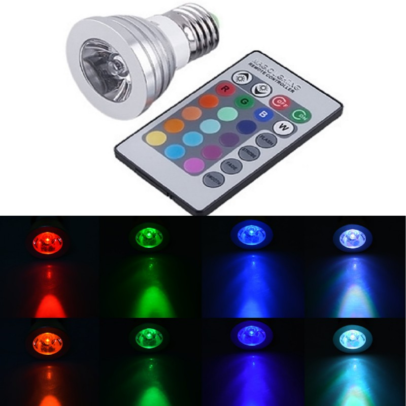 1PC Changeable RGB LED Spotlight Bulb 85V- 265V With IR Remote Controller Holiday Lamp Night light 110V - 220V G