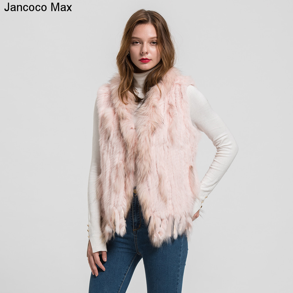Jancoco Max 2018 New Lady Real Rabbit Real Fur Vests Raccoon Fur Collar Women Winter Fashion Gilet Waistcoat Ladies Coat S1700