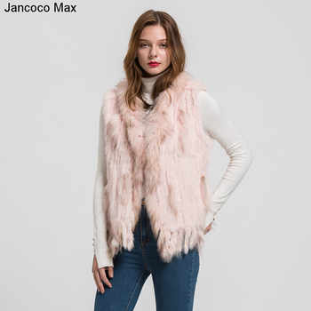 Women Fashion Fur Vests Real Rabbit Fur With Raccoon Fur Collar Gilet Winter Warm Waistcoat S1700 - DISCOUNT ITEM  49% OFF All Category