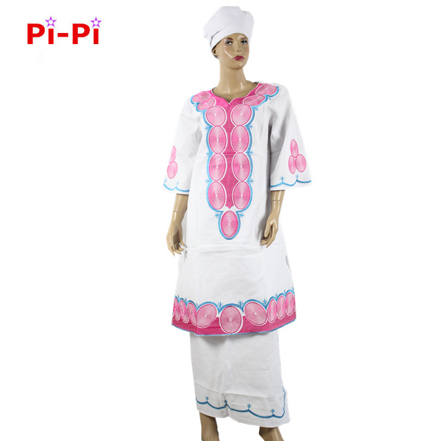 (Free shipping)New African riche bazin dress for women traditional embroidery woman dress natural linen fabric