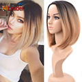 High Quality Kanekalon Synthetic Wigs for Black Woman, Ombre Burgundy/Blonde and Silver Cheap Short African American Bob Wigs