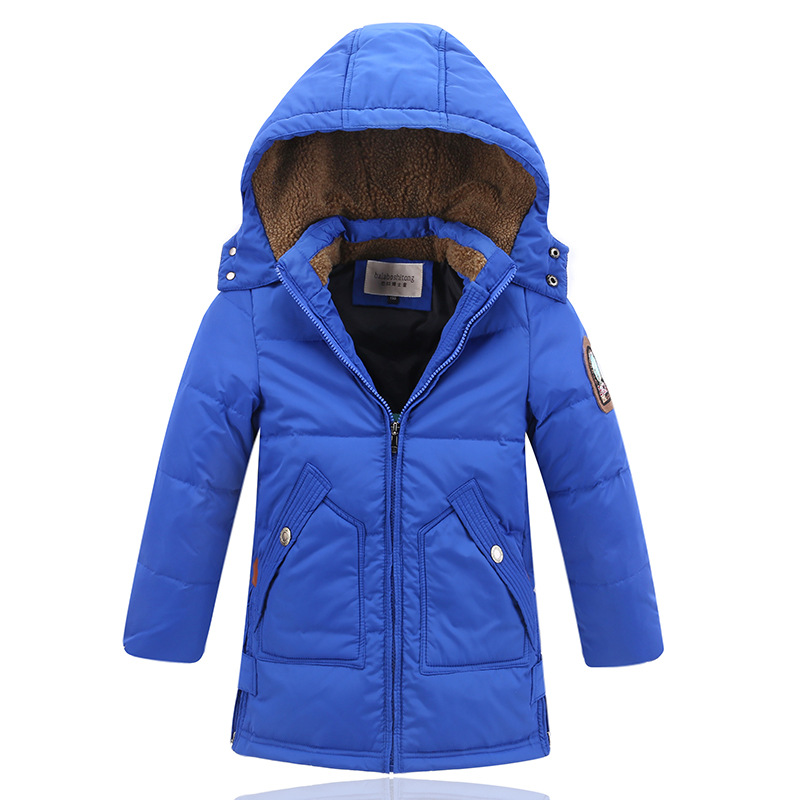 2017 Winter Boys Long Down Parkas Thermal Hooded 90% Duck Down Kids Jacket Fashion For -10 Degree Celsius Height 120-170cm 2017 europe and the united states winter new style white duck down parkas thick in the long hooded quilt down jacket women