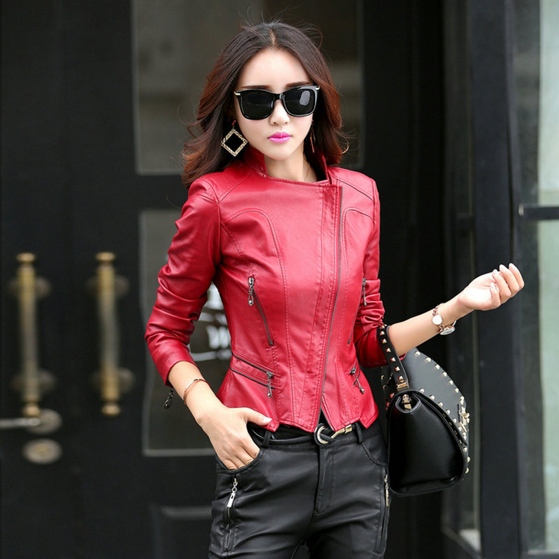 Fashion Women Leather Jacket Slim Fit Ladies Cropped V ...