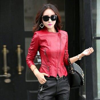 Fashion Women Leather Jacket Slim Fit Ladies Cropped V-neck Coats Faux Leather Motocycle Ladies Coats leather jacket