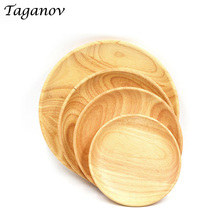 10 Pcs / Lot Round wooden plates and bowl for restaurant natural wood tray serving small large Japanese Saucer dishes