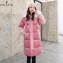 PinkyIsBlack 2019 Wadded Jacket Female New Winter Jacket Women Down Cotton Jacket Long Parka Fur Hooded Velvet Winter Coat Women цена 2017