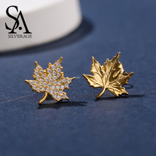 SA SILVERAGE 925 Sterling Silver Yellow Gold Color Maple Leaf Stud Earrings Woman Zirconia Asymmetry