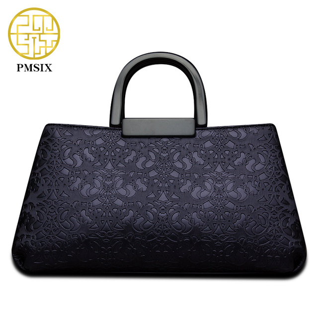 PMSIX Fashion Embossed Flower 2017 Women Leather Bag Double Zip Ladies Handbag Shoulder Bag Female Crossbody Bag P140003