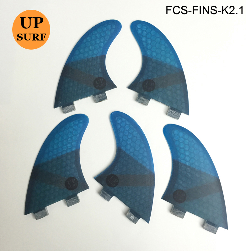 Upsurf Surfing FCS Fins K2.1 Surfboard Fin Fiberglass Honeycomb Fin Red, Green, Blue, Black Fin 5 in Set 4 Colours upsurf logo