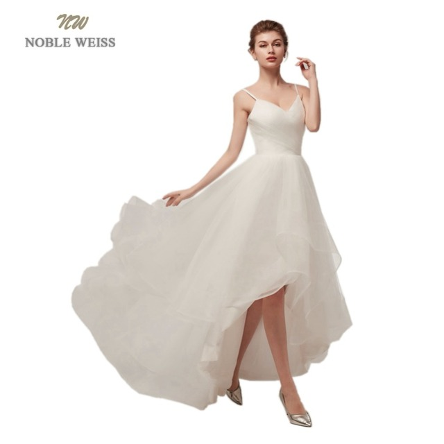 Noble Weiss In Stock Cheap Wedding Dress Spaghetti Straps Pleated
