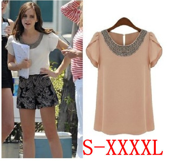2018 New Summer Women S Beaded Chiffon Shirt Plus Size Short -Sleeved Blouse Tops Blusas -4xl C0001