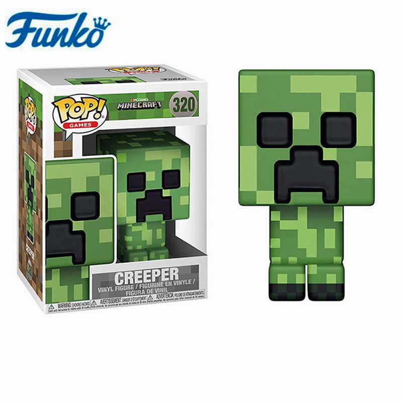 Funko Pop Anime เกม Minecraft CREEPER STEVE #322 STEVE ในเกราะเพชร Action Figure ของเล่นเด็กของขวัญ